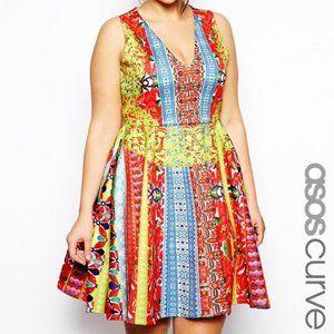 ASOS Multicolor Skater Dress in Indie Summer Print